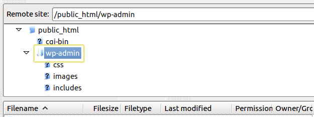 wp-admin dossier wordpress