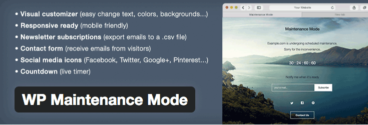 wp-maintenance-mode plugin WordPress
