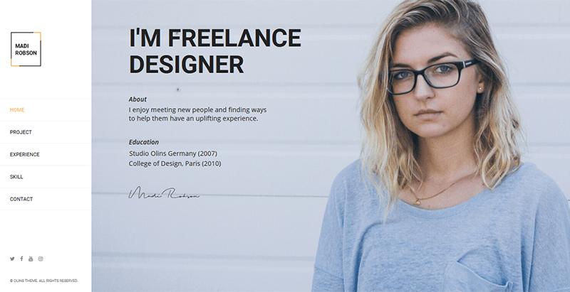Olins theme wordpress freelance cv