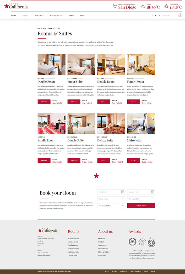 Hotel california un th me wordpress pour site web d for Site web pour hotel