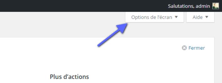 modifier les options d'écran WordPress