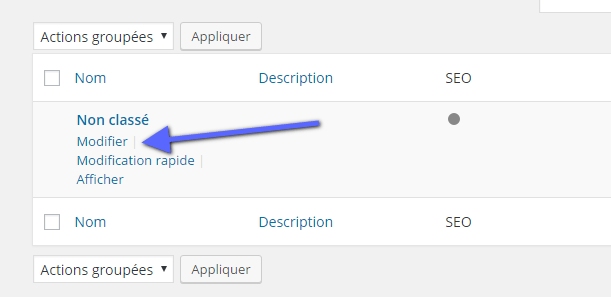 editar uma categoria padrão do WordPress