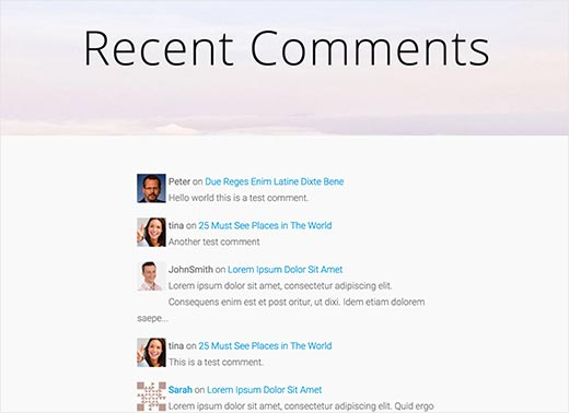 page de commentaire récent WordPress démonstration
