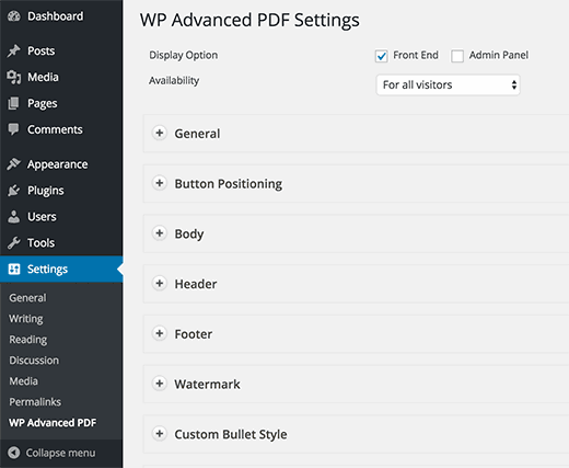 configurações de plug-in imprimem artigos como PDF WordPress