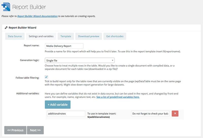 report builder page des réglages
