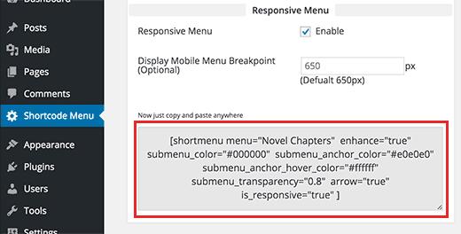 Code court du widget générateur WordPress