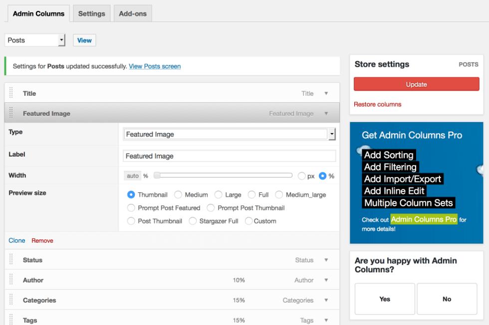 Колонка WordPress плагин админ