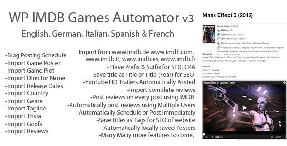 IMDB WordPress Juegos Automator