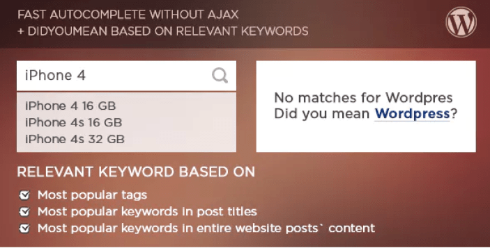Live search and smart autocomplete for wordpress plugin wordpress