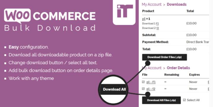 Woocommerce bulk download