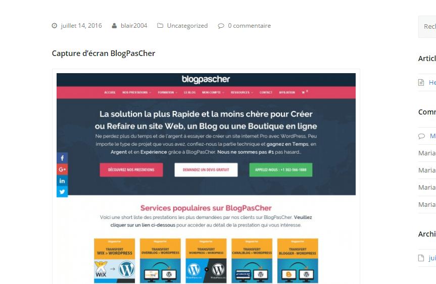 capture d'écran blogpascher