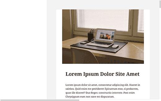 demo site web modification de la sidebar