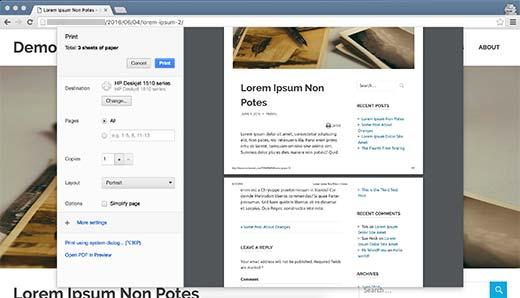Articolo WordPress stampa