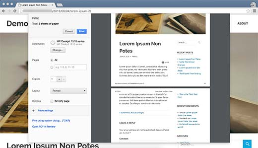 impression d'article WordPress