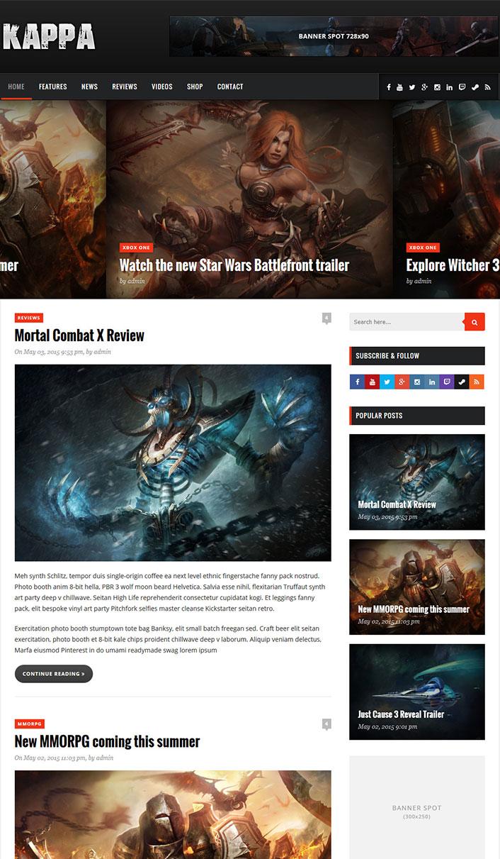 Kappa - ein Wordpress-Theme für Videospiele | BlogPasCher
