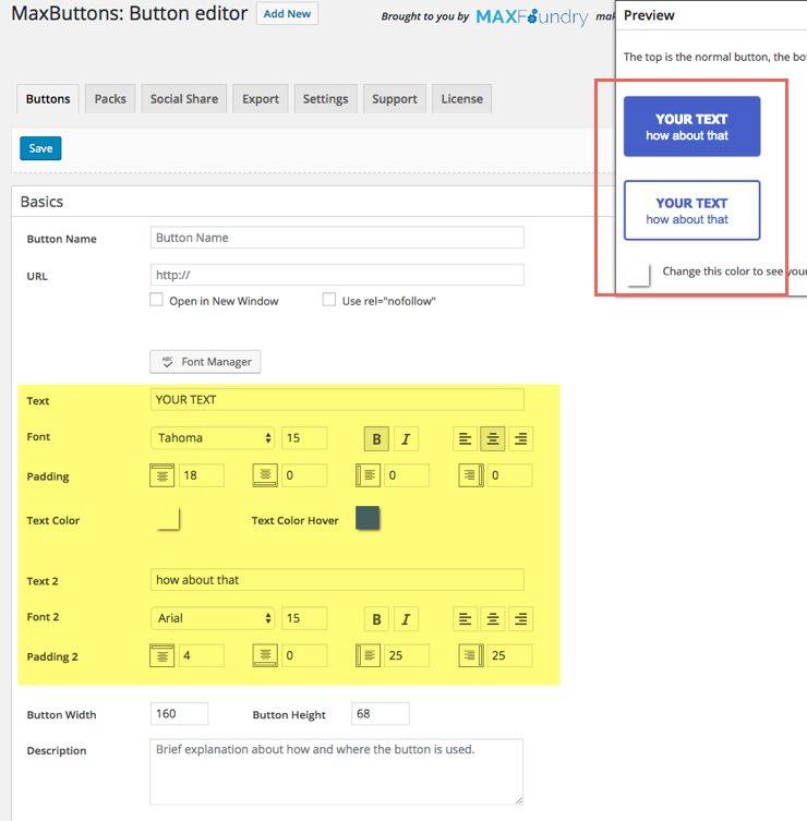 maxbuttons-two-line-buttons réglages plugin