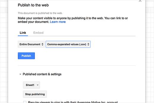 mode d'exportation des données WordPress