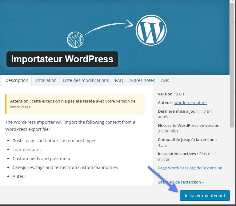 ferramenta de importação WordPress