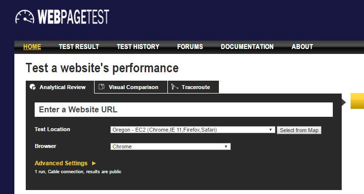 webpagetest outil de test de performance d'un site web