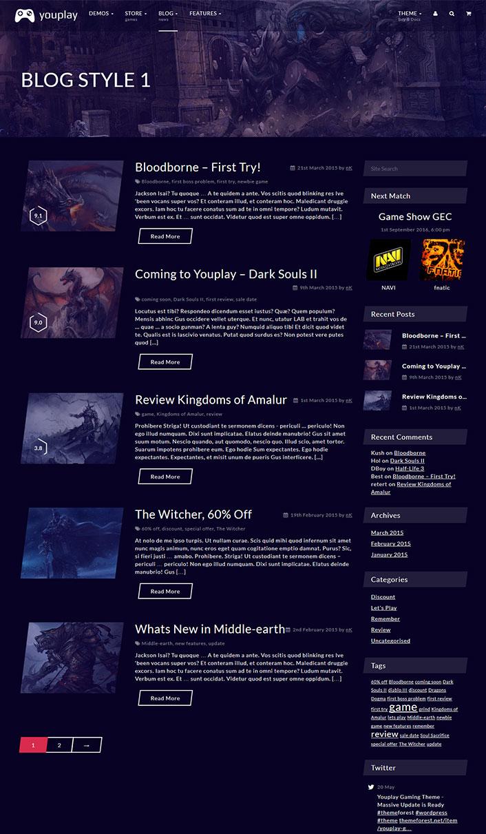 Youplay - Un tema de WordPress para videojuegos   BlogPasCher
