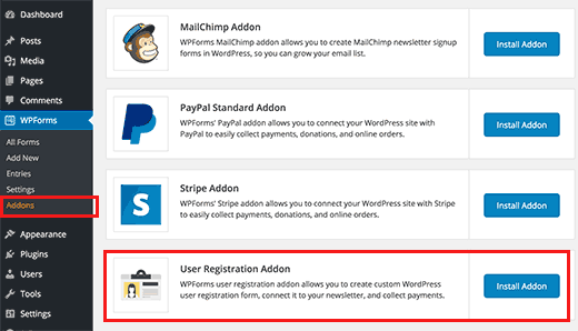 User Registration installation d'extension WordPress WPForms
