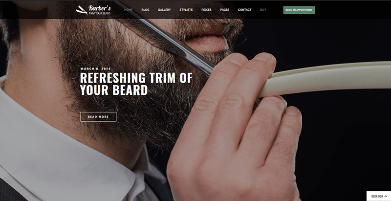 Barbers themes wordpress site web coiffeur