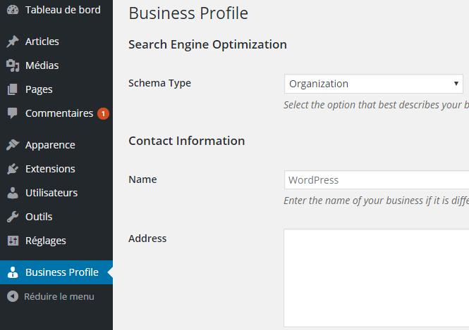 perfil de negócios WordPress
