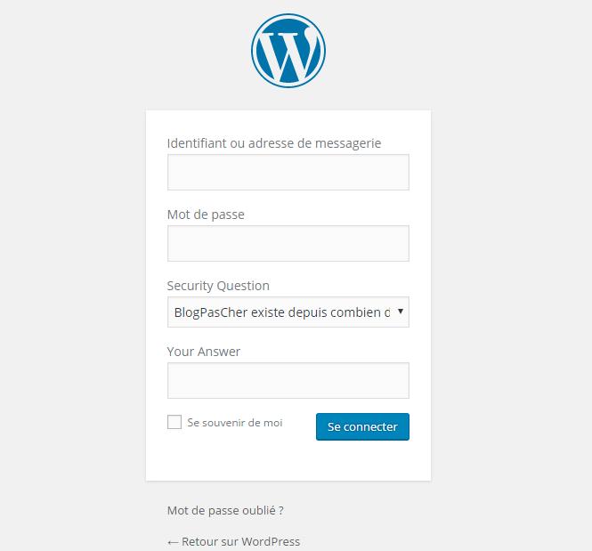 formulaire de connexion WordPress