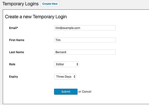 information du compte temporaire
