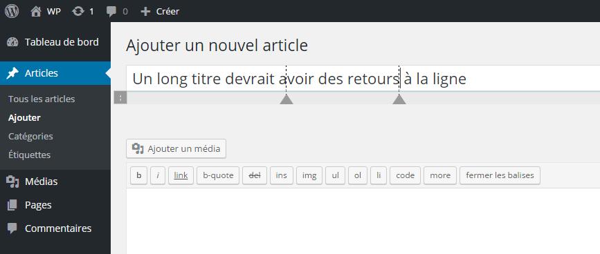 plusieurs retours à la ligne WordPress