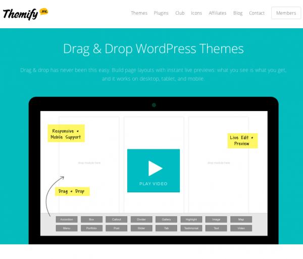 themify plugin WordPres sdrag and drop