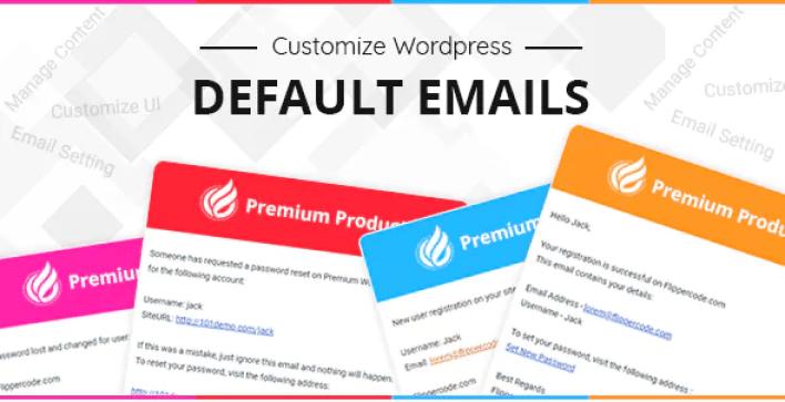 Customize Default Emails plugin WordPress