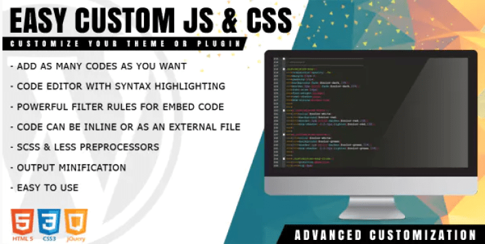 Easy Custom JS and CSS Extra Customization plugin WordPress
