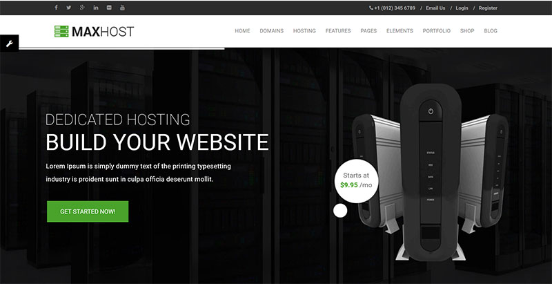 Maxhost – web hosting and corporate business theme