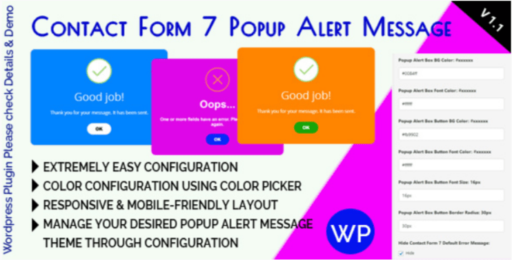 Contact form 7 popup alert message