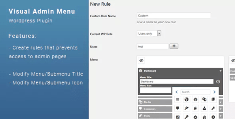 Visual admin menu plugin wordpress