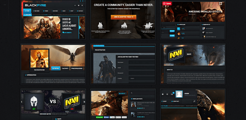 Blackfyre 10 themes wordpress site web jeux video blogpascher