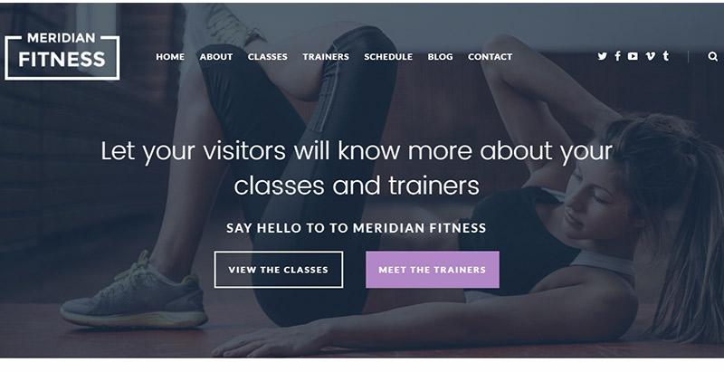 Meridian fitness themes wordpress creer site web club sports fitness gymnase
