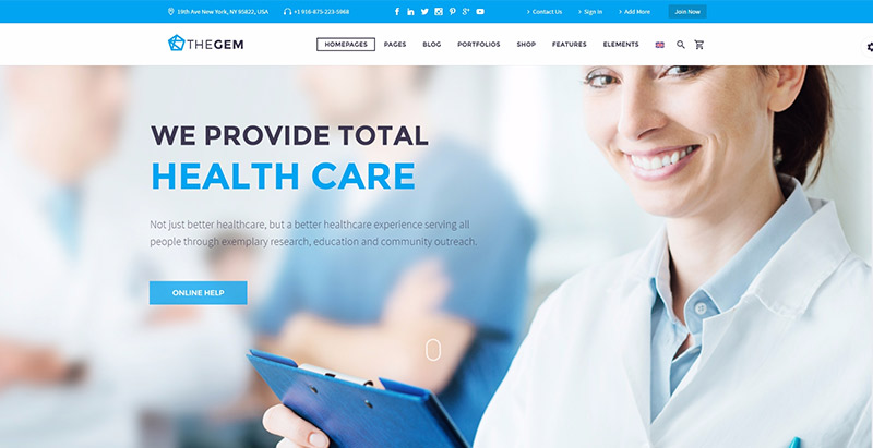 Thegemthemes wordpress creer site web medical clinique