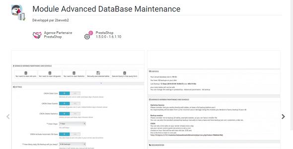 Advanced database maintenance plugin prestashop pour bd