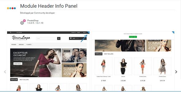Header info panel plugin prestashop pour entête