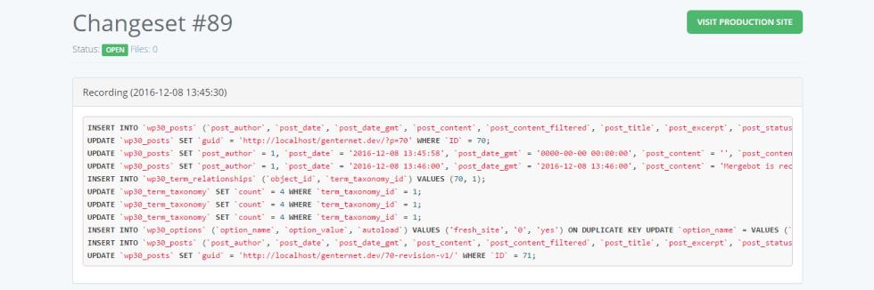 Modification de la base de données mergebot