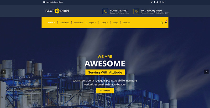 Factorian themes wordpress creer site web entreprise agence cabinet