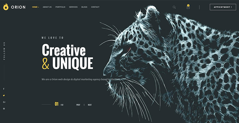Orion themes wordpress creer site web portfolio agence creative