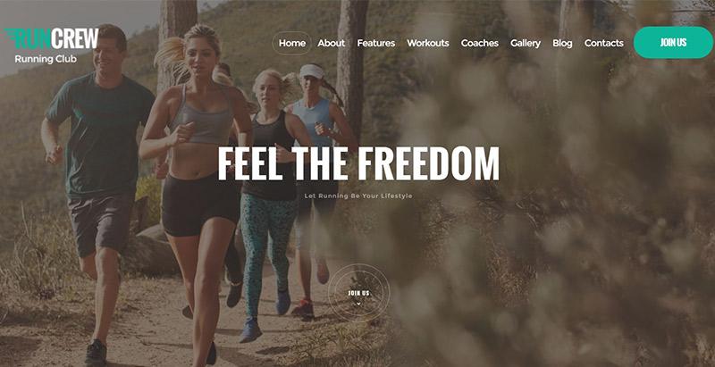 Runcrew temas wordpress criar site fitness club