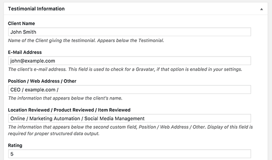 Configuration témoignage wordpress
