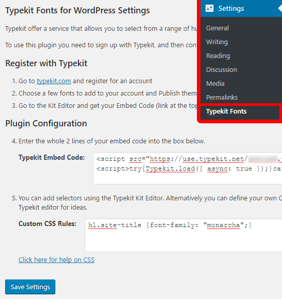 Reglages typekit wordpress plugin