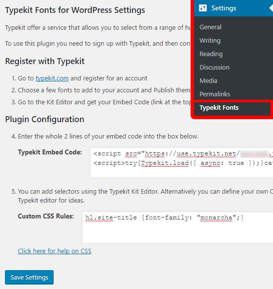 Reglages typekit wordpress plugin