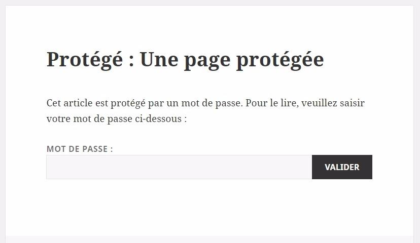 Une page protégée sur wordpress
