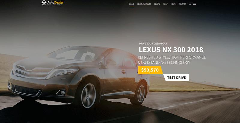 meilleurs thèmes WordPress de vente ou de location de voitures - Autodealer